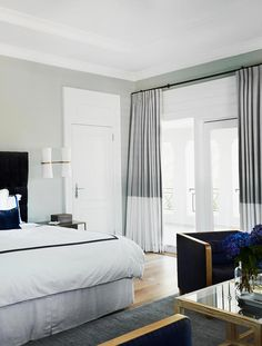 rich blue velvet and soft grey contrast in the master bedroom | melissa marshall home tour on coco kelley Oversized Mirror, Furniture, Home Decor, Homemade Home Decor, Home Furniture, Interior Design, Decoration Home, Home Interiors, Home Decoration
