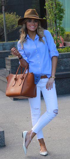 Brooke Carrie Hill - [Hat] Rag & Bone [Button-Up] J-Crew [Skinnies] JBrand [Shoes] Valentino [Bag] Celine