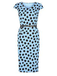 Spot Belted Shift Dress  Spot Belted Shift Dress