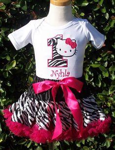 Girls Birthday Hello Kitty Zebra Number Pettiskirt Set