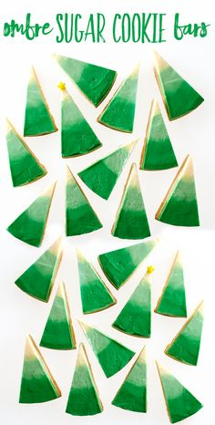 Ombre Christmas tree cookies are a beautiful addition to the Holiday cookie tray.  They are easy to make by icing and cutting one giant cookie into 12 wedges.