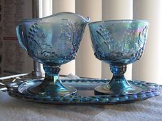 Carnival Glass creamer and sugar bowl