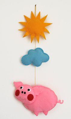 IKO Plush Pig Baby Mobile - Baby Crib Mobile - Nursery Pig Mobile - Felt Mobile - Pig Pink Plush - Baby Mobiles Unique. $19.00, via Etsy.