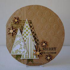 Christmas Tree (Kraft) card with unusual shape.