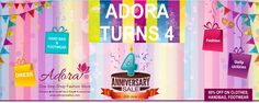 We are proudly announcing  Adora's 4th Anniversary ! on this special occasion we are very happy to offer 60% off on ladies garments, handbags, clutches, footwear & accessories. Promotion ends in 4 days! Hurry up and Eid Mubarak to All.