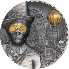 Steampunk - 3 Unzen Feinsilber Science Fiction, Steampunk, Bullion Coins, World Coins, Silver Bars, Cook Islands, Coin Collecting, Silver Coins, Victorian Era