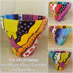 Add some color to your Garden, Home, Patioor Deck with a one-of-a-kind Hand Painted Terra Cotta Plant Pot by PopArtDiva. Click image for all designs on Etsy. Painted Clay Pots, Painted Flower Pots, Hand Painted Ceramics, Clay Pot Projects, Clay Pot Crafts, Flower Pot Art, Terracotta Plant Pots, Decorated Flower Pots, Ceramic Pots