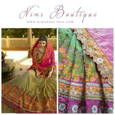 Olive Green & Pink Multi Embroidered Sari with unstitched blouse