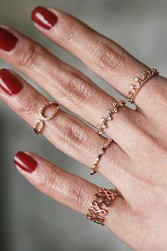 CZ Twinkle Bridge Ring Rose Gold from kellinsilver.com