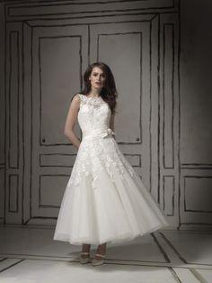 fa619b9319a Shop Wedding Dresses Plus Size Wedding Dresses A Line Scoop Tea length  Satin on seasonmall