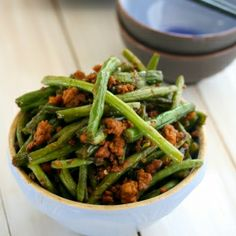Chinese Green Beans cooked with garlic, chili and soy sauce - and of course, with PORK!  Yum.