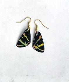Moth Wing Earrings, Handmade Jewelry, Fish Hook Earrings, 14k Gold, Hypoallergenic or Sterling Silver Multi Color Earrings by dougwalpusartstudio. Explore more products on http://dougwalpusartstudio.etsy.com