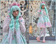 Angelic Pretty Dreamy Doll House, Gothic Lolita Wigs Classic Mint Wig, Angelic Pretty Headdresses, Dream V Pink Shoes