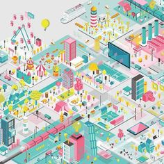 Architecture People, Architecture Collage, Architecture Illustrations, City Drawing, Collage Drawing, Isometric Design, Isometric Art, City Illustration, Presentation Design