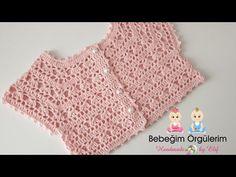 Crochet Dress Rob New Model Floral Roba - hakeln Crochet Baby Dress Pattern, Crochet Yoke, Crochet Baby Cardigan, Baby Girl Crochet, Crochet Baby Clothes, Crochet Blouse, Baby Knitting Patterns, Crochet For Kids, Crochet Patterns