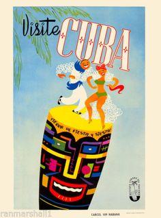 Visite-Cuba-Cuban-Havana-Habana-Dance-Caribbean-Travel-Art-Advertisement-Poster