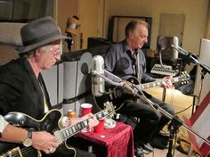 "Keith Richards and Lou recording a track for ""Thank You, Les,"" a tribute to Les Paul"
