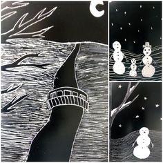 Talvi, raapetyö. Peru, Printmaking, Christmas Time, Winter, Cards, Art Education, Turkey, Winter Time, Printing