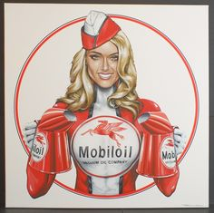 Mobiloil Sales Girl Canvas Acrylic Painting | Classic Driver Market