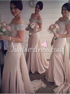 Buy Simple-dress Elegant Beading Off-shoulder Mermaid Long Bridesmaid Dresses SABD-70744 Bridesmaid Dresses under US$ 134.99 only in SimpleDress.