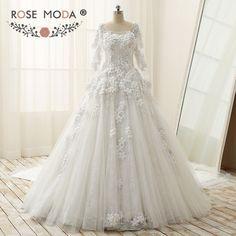 0a92541fd0d Long Sleeves Wedding Dress Muslimische Brautkleider
