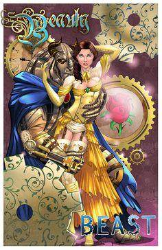 Steampunk Beauty and the Beast in Sorah Shibao's Disney Comic Art Gallery Room - 1156428 Steampunk Disney Princesses, Naughty Disney Princesses, Twisted Disney Princesses, Disney Princess Art, Disney Fan Art, Disney Love, Disney Pin Up, Zombie Princess, Disney Marvel