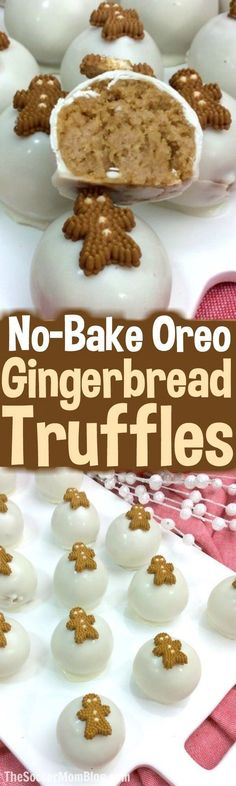 Adorable Oreo Gingerbread Truffles perfect for holiday parties or gifting. Easy no-bake Christmas dessert recipe kids can help make. via @https://www.pinterest.com/soccermomblog