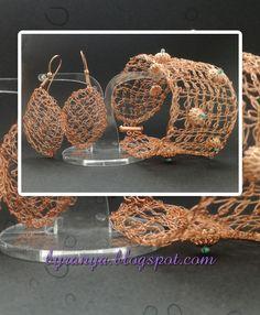 Tunisian Crochet Wire Bracelet & Earings