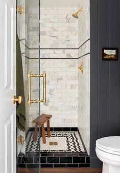 10 Pins : Pinterest Inspiration - Room for Tuesday Blog Bathroom Renos, Bathroom Interior, Modern Bathroom, Master Bathroom, Attic Bathroom, Design Bathroom, Bath Design, Tile Design, Seward Park