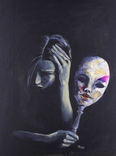 Buy Prints of The Mask She Hides Behind, a Acrylic on Paper by Sara Riches from . Bailey Tyrpak - - Buy Prints of The Mask She Hides Behind, a Acrylic on Paper by Sara Riches from . Inspiration Art, Art Inspo, Illusion Kunst, Art Noir, Mental Health Art, Arte Obscura, Sad Art, Masks Art, A Level Art