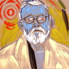 R.B. Kitaj  (1932-2007)  - Radiant Turquoise Self- Portrait, 2006  oil on canvas  61 x 61 cm