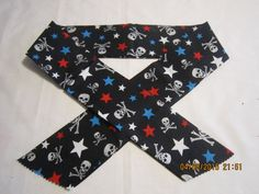 "Extra Wide 3"" Reusable Non-Toxic Cool Wrap / Neck Cooler  - Motorcycles/Goth - Skulls with Red & Blue Stars by ShawnasSpecialties on Etsy"