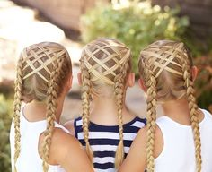 Hair Triplets in woven feathered Dutch braids! My twins loved meeting Hannah's little sister who is also 8 & blonde! @hannah_hairstyles & I have been saying we need to get them together to twin for...