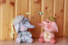 Купить Веселые слоники - бледно-сиреневый, персиковый, бледно-розовый, слоник, игрушка, авторская игрушка