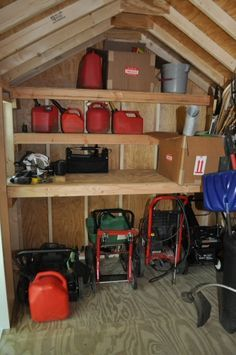 """Organized shed with shelves - OneProjectCloser.com - how to build the shelves. Jim doesn't need the """"how to,"""" but it has some good ideas about depth of shelves and organization."""