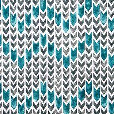 Setas de diferentes tamanhos indicam o caminho em tons azul petróleo e verde musgo. Ideal para cortinas e estores, sofás e estofos, almofadas e trabalhos manuais.