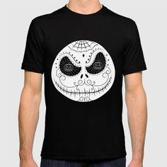 """Jack's Skull Sugar (Vector Mexican Skull) by #Beatrizxe   #society6 Vector design inspired in the film """"Nightmare before Christmas"""" #shirt #tee It's a cross between mexican skull sugar and Jack Skellington. Jack's eyes is formed by pumpkins and his head has different decorative elements: cobweb, diamond, circles… #vector #nightmare #before #christmas #mexican #skull #sugar #jack #skellington #skeleton #pumpkins #halloween #cobweb #spiderweb #spider #web #illustration #artwork #art"""