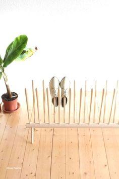 Shoe Rack and Shoe… Handmade Furniture, Unique Furniture, Diy Furniture, Wooden Shoe Racks, Diy Shoe Rack, Industrial Shoe Rack, Skateboard Furniture, Shoe Cubby, Vintage Ladder