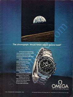 "1970 OMEGA Chronograph Watch Ad ""NASA"""