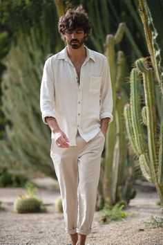 Balina pant - poppyfield the label Mens Linen Outfits, Linen Pants Outfit, White Pants Outfit, Men's Linen Pants, Hippie Style, Streetwear, Mode Outfits, Mens Clothing Styles, Travel Outfit Summer