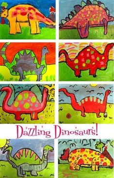 Deep Space Sparkle – Dinosaur Art Lesson Drawing a dinosaur takes center stage in this dinosaur art project. Students sit up and listen as all are eager to learn how to draw their favorite subject. Dinosaur Art Projects, Dinosaur Activities, School Art Projects, Art Activities, Art School, Dinosaurs Preschool, Kindergarten Art Lessons, Art Lessons Elementary, Kindergarten Drawing