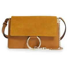 Women's Chloe Small Faye Leather Shoulder Bag ($1,390) ❤ liked on Polyvore featuring bags, handbags, shoulder bags, mustard brown, leather shoulder bag, brown purse, brown leather shoulder bag, genuine leather purse and brown leather handbags