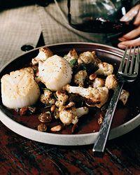 Scallops with Roasted Cauliflower and Raisins Recipe on Food & Wine