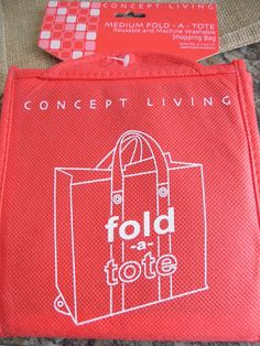 Shopping bag fold a tote reusable  bag.We only have red bags left. #ConceptLiving