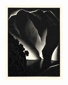 Paul Landacre (American, 1893-1963).  Tuonela. 1934. wood engraving.