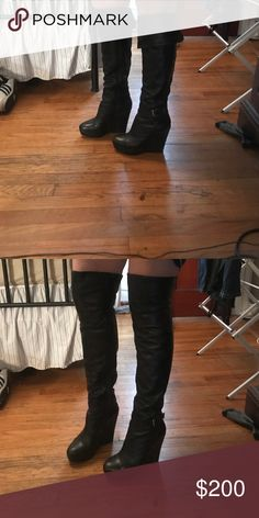 Sexy Brigette Bailey boots Only worn once very sexy Bridget bailey leather wedge boots. Can be worn over the knee as well. bridgette bailey Shoes Over the Knee Boots