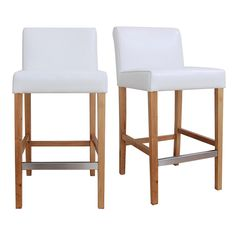 Place these tall counter stools in your home to instantly create an inviting environment. The padded seats and wooden footrests promote comfort, and the sleek armless design is impressively modern. They're a perfect addition to any dining or lounge area.