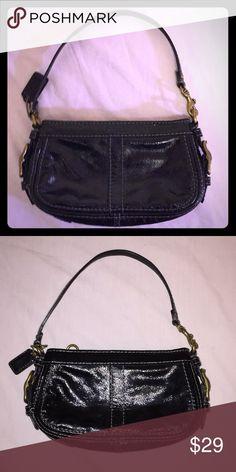 ec43bbec42 Coach Mini Purse Pre Owned. Excellent condition. Black patent leather. Gold  detailing.