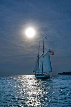 | Key West, Florida - 01 | This picture was taken off the western most pier of Key West, Florida near sunset.  These boats, laden with tourists, were heading out for a glimpse of the sunset at sea.: