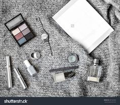 Collection Of Different Professional Make Up Products On Grey Wool Sweatshirt Top View. Make Up Set Studio Shot.Woman Fashion Accessories With Magazine Mock-Up Copy Space. Autumn Grey And Silver Mood Stock Photo 487162363 : Shutterstock
